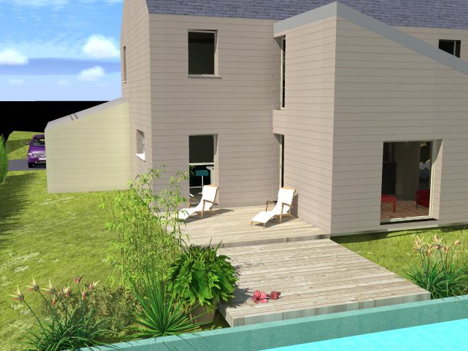 Maison en t klg architecte for Maison bardage bois gris